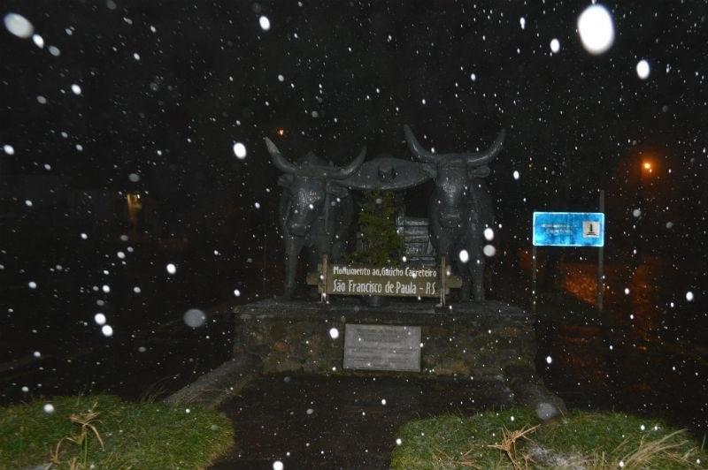 Em São Francisco de Paula, neve foi registrada em julho de 2016 | Foto: Bolívar Medeiros / Prefeitura de São Francisco de Paula