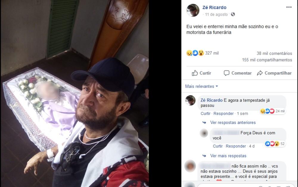 Filho posta foto velando mãe sozinho, em Goiânia — Foto: Reprodução/Facebook