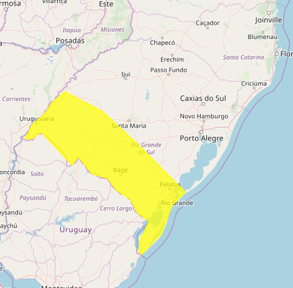 RS tem alerta para tempestades entre as regiões Sul e Fronteira-Oeste nesta sexta-feira