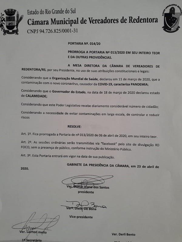 Legislativo Redentorense prorroga portaria e sessões serão transmitidas pelo Facebook RD Foco