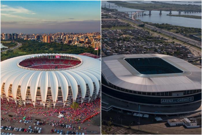 Beira-Rio e Arena só devem receber grandes públicos no final do ano ou no início do próximo (fotos de arquivo) Montagem sobre fotos de Jefferson Botega/Agência RBS