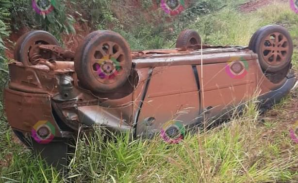 Acidente deixa veículo destruído na ERS 317 em Coronel Bicaco
