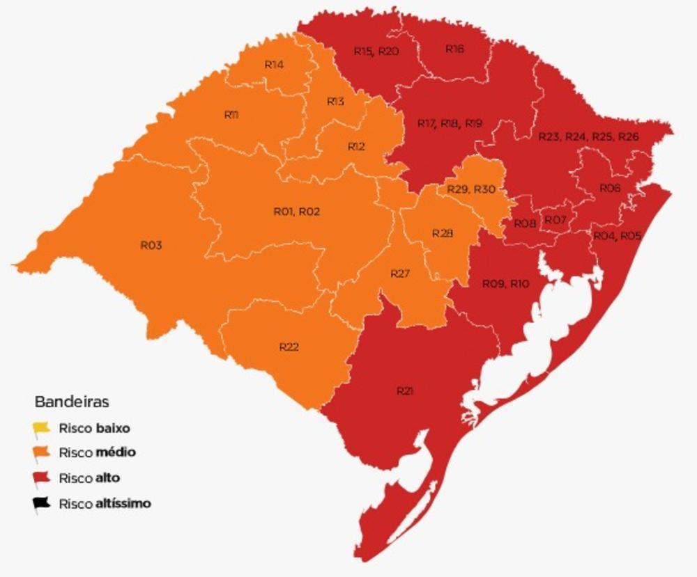 Mapa preliminar, com regiões na bandeira vermelha, foi divulgado na sexta-feira (3). Arte: Comitê de dados (SES) / SEPLAG