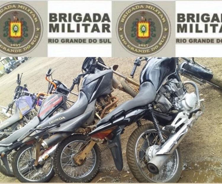 Recuperação de motos furtadas e apreensão de motocicletas adulteradas pelo 7°BPM - Foto:Brigada Militar