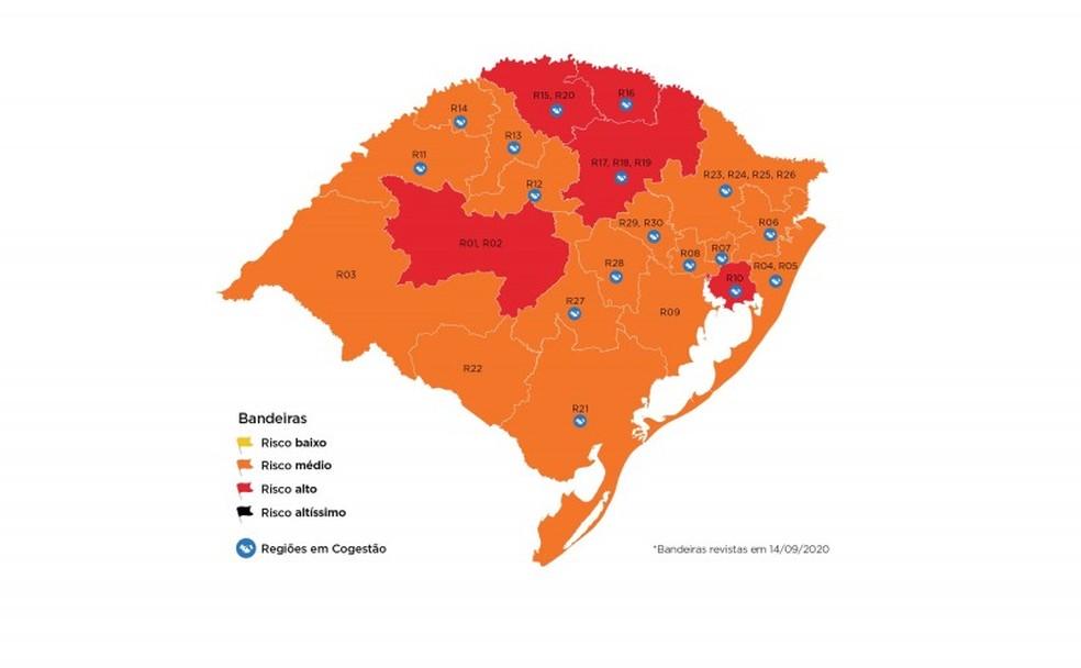 Mapa do distanciamento controlado do RS na 19ª semana — Foto: Governo do RS/Divulgação