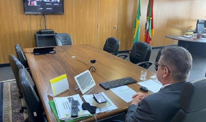 Vice-governador assinou acordo durante videoconferência com representantes de todas as instituições participantes - Foto: Júlia Soares/Ascom GVG
