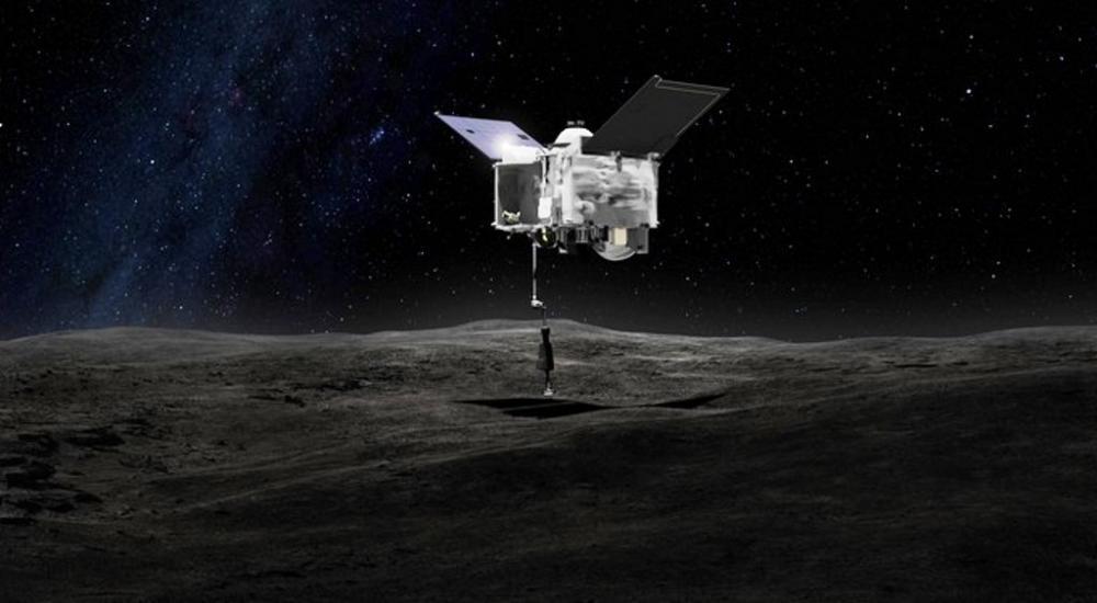 Simulação do momento em que a sonda OSIRIS-REx contacta o asteroide Bennu (Foto: Nasa)