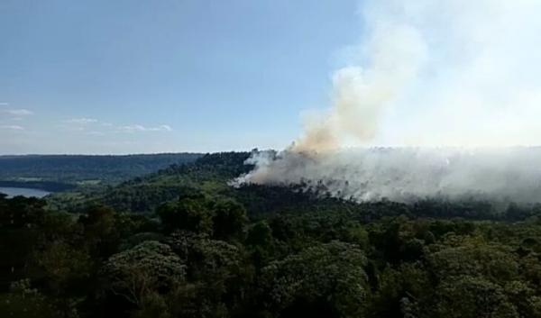 Equipes do Parque Estadual do Turvo estão em alerta em virtude do incêndio do lado argentino (Foto: Misiones Online)