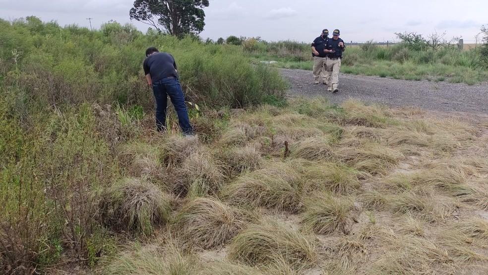 Local onde foi encontrado o corpo de Silvano Camponogara Fontana, 50 anos — Foto: Bagé 24 horas