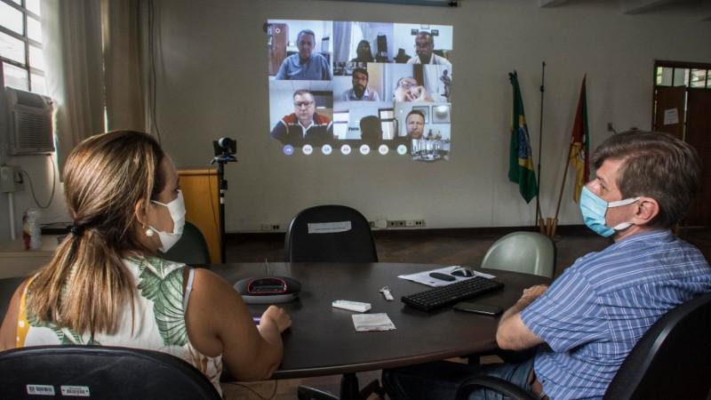 Reunião realizada por videoconferência discutiu medidas para fortalecer ações de vigilância contra a aftosa - Foto: Divulgação Seapdr
