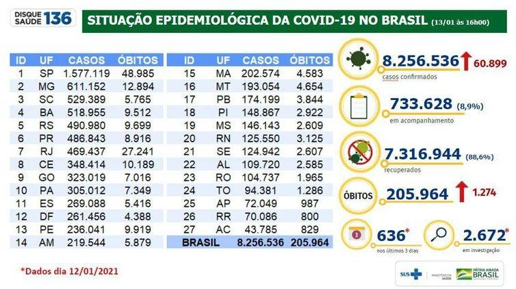 Covid-19: Brasil acumula 205,9 mil mortos e 8,25 milhões de infectados