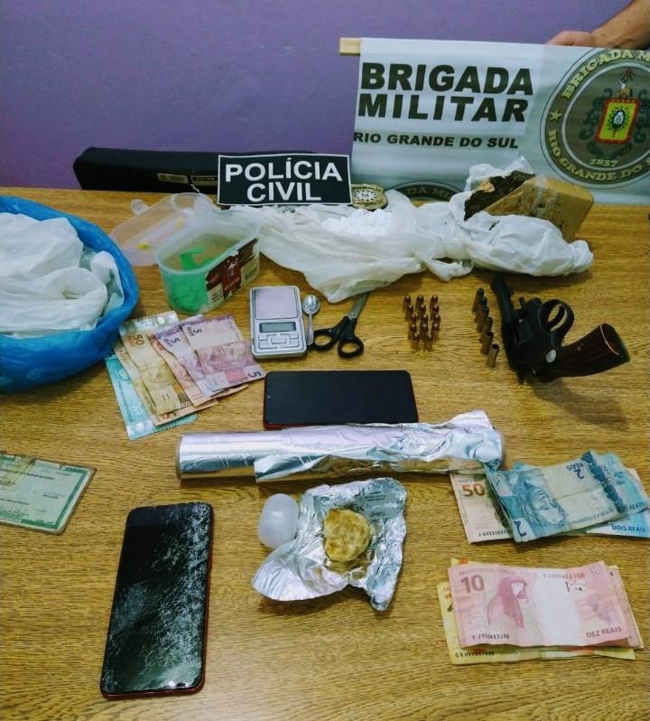 Polícia Civil apreende drogas, armas e prende duas pessoas em Redentora