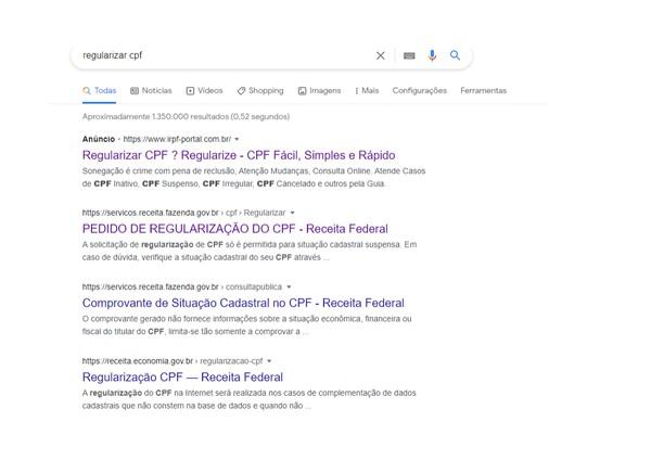 Primeiro resultado de busca ao pesquisar