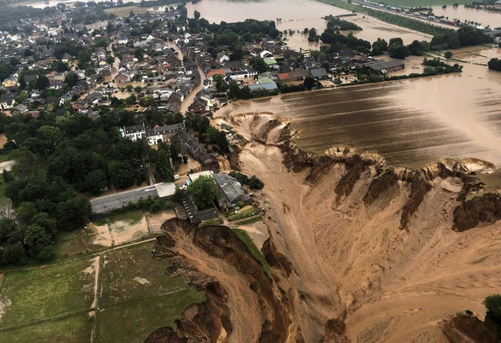Chuvas causam inundações gigantescas na cidade de Erftstadt, na Alemanha. Foto: Divulgação/Distrito de Colônia