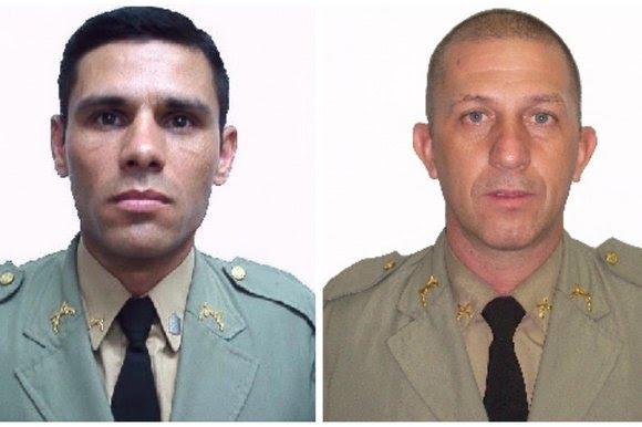 Tenente Deroci de Almeida da Costa (E) e sargento Lúcio Ubirajara de Freitas Munhós (D) - Montagem sobre fotos / Reprodução