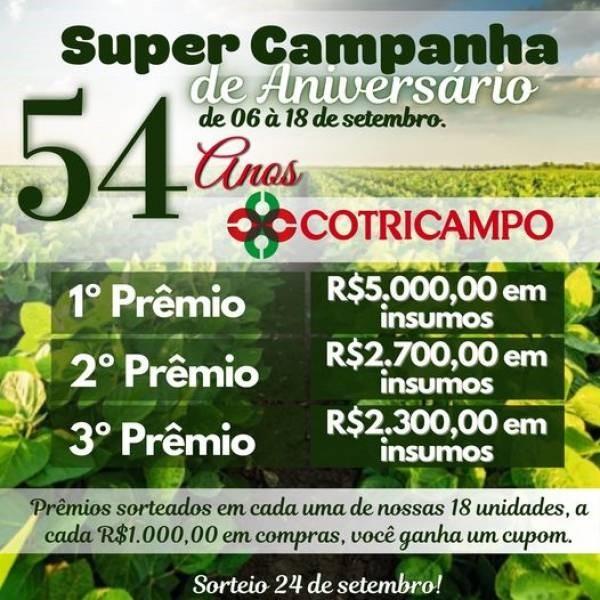 Cotricampo realizará live para comemorar 54 anos e lançar a 6ª ExpoAgro, nesta terça-feira